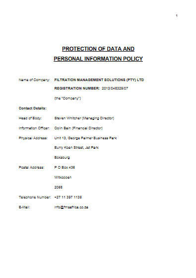 Protection of Data & Personal Information Policy